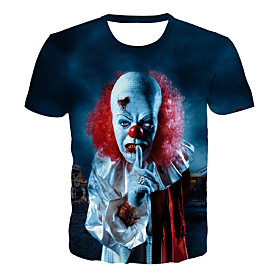 Men's Plus Size 3D Graphic Print T-shirt Basic Exaggerated Daily Club Round Neck Blue / Summer / Short Sleeve / Skull