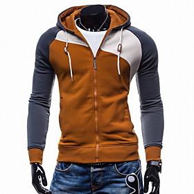 Men's Hoodie Color Block Hooded Casual Hoodies Sweatshirts  Blue Wine Camel