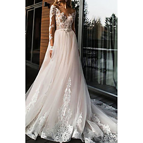 A-Line Wedding Dresses V Neck Sweep / Brush Train Lace Tulle Long Sleeve Romantic Boho Illusion Sleeve with Appliques 2020