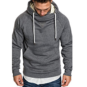 Men's Hoodie Solid Colored Hooded Basic Hoodies Sweatshirts  Black Red Light gray