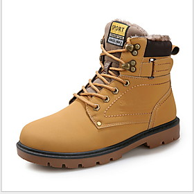Men's Boots Combat Boots Work Boots Daily PU Mid-Calf Boots Black / Yellow / Brown Winter