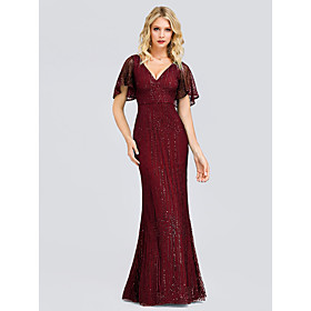 Sheath / Column Elegant  Luxurious Formal Evening Dress Plunging Neck Short Sleeve Floor Length Tulle Sequined with Sequin 2020