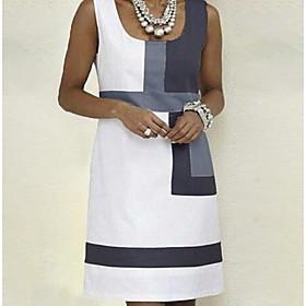 Women's A Line Dress - Sleeveless Color Block Strap Basic White S M L XL XXL