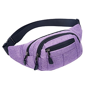 Men's Bags PU Leather / Canvas Fanny Pack Zipper Solid Color for Daily Black / Blue / Purple / Red