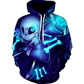 Men's Hoodie 3D Hooded Basic Hoodies Sweatshirts  Blue