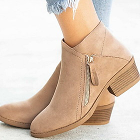 Women's Boots Chunky Heel Round Toe Suede Booties / Ankle Boots Winter Black / Orange / Blue