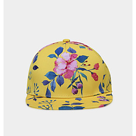 Men's Basic Polyester Baseball Cap-Floral Print Yellow