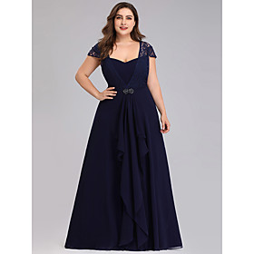 A-Line Plus Size Blue Wedding Guest Formal Evening Dress Scoop Neck Short Sleeve Floor Length Chiffon Lace with Crystals Lace Insert 2020
