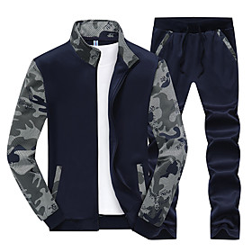 Men's 2-Piece Fleece Tracksuit Sweatsuit Jogging Suit 2pcs Winter Front Zipper Mandarin Collar Running Walking Jogging Thermal / Warm Windproof Soft Sportswear