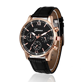 Men's Sport Watch Quartz New Arrival Casual Watch Analog Black / White Black / Blue black / gold / One Year / PU Leather / Large Dial