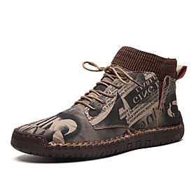 Men's Boots Work Boots Casual Daily Outdoor Walking Shoes Faux Leather Wear Proof Booties / Ankle Boots Black / Brown Camouflage Fall / Winter