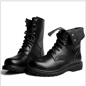 Men's Boots Combat Boots Work Boots Daily Leather Booties / Ankle Boots Black / Brown Fall