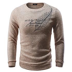 Men's Geometric Long Sleeve Pullover Sweater Jumper, Round Neck Black / Dark Gray / Beige M / L / XL