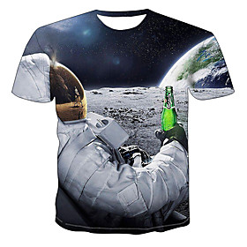 Men's 3D Graphic Print Slim T-shirt Daily Round Neck Blue / Summer / Short Sleeve