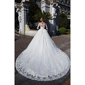 Ball Gown Wedding Dresses Off Shoulder Chapel Train Lace Tulle Lace Over Satin Half Sleeve Formal Sparkle  Shine Illusion Sleeve with Lace Appliques 2020