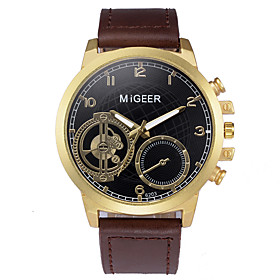Men's Sport Watch Quartz New Arrival Chronograph Analog GoldenBlack Rose Gold Black / Rose Gold / One Year / Leather / Large Dial
