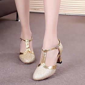 Women's Dance Shoes Modern Shoes / Ballroom Shoes / Line Dance Heel Buckle / Paillette Cuban Heel Silver Gray / Black / Purple / Performance / Practice