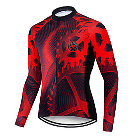 Men's Long Sleeve Cycling Jersey Winter Polyester Black / Red Gradient Gear Bike Jersey Top Mountain Bike MTB Road Bike Cycling Breathable Quick Dry Sweat-wick