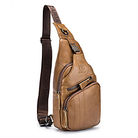Men's Bags Cowhide Sling Shoulder Bag Zipper Animal for Daily / Office  Career Black / Yellow / Coffee / Fall  Winter