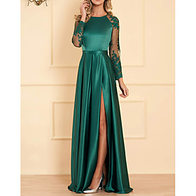 A-Line Empire Turquoise / Teal Wedding Guest Formal Evening Dress Jewel Neck Long Sleeve Floor Length Satin with Appliques Split Front 2020