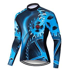 Men's Long Sleeve Cycling Jersey Winter Blue / Black Gradient Gear Bike Jersey Top Mountain Bike MTB Road Bike Cycling Breathable Quick Dry Sweat-wicking Sport