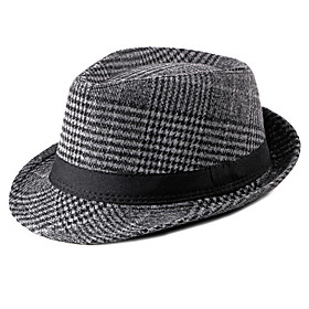 Men's Basic Polyester Bucket Hat-Striped Fall Brown Dark Gray Light gray