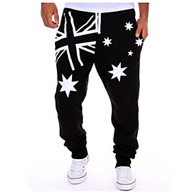 Men's Basic Jogger Pants Print White Black Blue US36 / UK36 / EU44 US38 / UK38 / EU46 US40 / UK40 / EU48