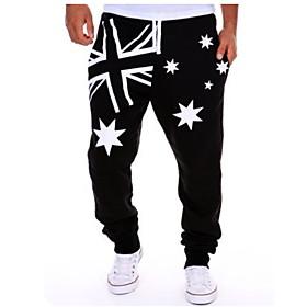 Men's Basic Jogger Pants Print White Black Blue US36 / UK36 / EU44 US38 / UK38 / EU46 US40 / UK40 / EU48