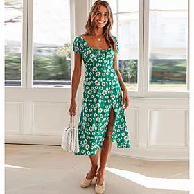 Women's A Line Dress - Geometric Red Green Navy Blue S M L XL