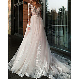 A-Line Wedding Dresses V Neck Court Train Tulle Long Sleeve Romantic Boho See-Through Illusion Sleeve with Lace Insert 2020