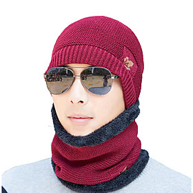 Men's Basic Polyester Ski Hat-Floral Print Black Wine Navy Blue