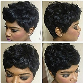 Human Hair Wig Short Curly Afro Short Hairstyles 2019 Berry Curly Afro Natural Black African American Wig For Black Women Machine Made Women's Black#1B
