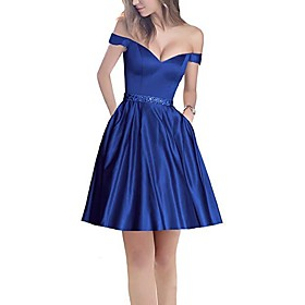 A-Line Minimalist Holiday Cocktail Party Dress Off Shoulder Short Sleeve Short / Mini Satin with Pleats Beading 2020