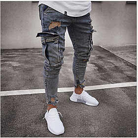 Men's Basic Jogger Pants Solid Colored Snake Print Gray US36 / UK36 / EU44 US38 / UK38 / EU46 US40 / UK40 / EU48