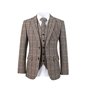 Brown herringbone tweed wool custom suit