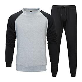 Men's 2-Piece Patchwork Tracksuit Sweatsuit Jogging Suit Casual Long Sleeve Front Zipper Thermal / Warm Windproof Soft Fitness Running Jogging Sportswear Sweat
