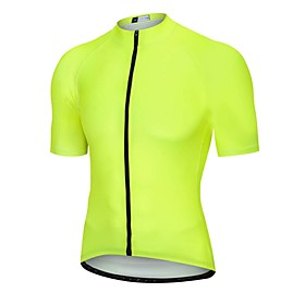 Men's Short Sleeve Cycling Jersey Yellow Bike Jersey Top Mountain Bike MTB Road Bike Cycling Breathable Quick Dry Back Pocket Sports Clothing Apparel / Advance
