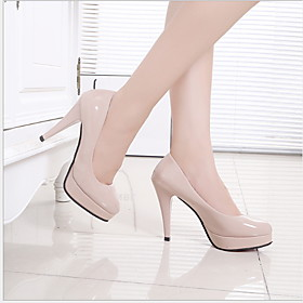 Women's Heels Stiletto Heel Round Toe PU Fall  Winter Black / Almond / White