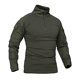 Men's Hunting T-shirt Long Sleeve Outdoor Spring Fall Sunscreen Breathable Protective Solid Colored Terylene Black Army Green Camouflage Khaki / Micro-elastic