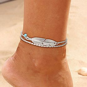 Ankle Bracelet Simple Boho Vintage Women's Body Jewelry For Daily Holiday Layered Alloy Feather Silver 1pc