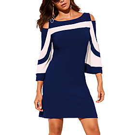 Women's A Line Dress - Half Sleeve Color Block Solid Colored Cut Out Patchwork Street chic Punk  Gothic Going out Casual / Daily Black Blue S M L XL XXL XXXL
