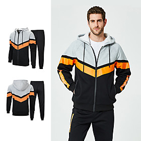Men's 2-Piece Patchwork Tracksuit Track Jacket Sweatsuit 2pcs Winter Front Zipper Hooded Running Fitness Jogging Thermal / Warm Windproof Soft Sportswear Plus