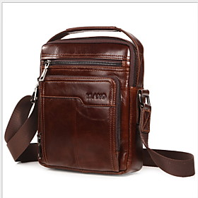Men's Bags Leather Briefcase Solid Color for Daily Dark Brown / Red Brown / Black / Fall  Winter