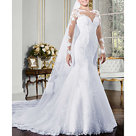 Mermaid / Trumpet Wedding Dresses Jewel Neck Court Train Polyester Long Sleeve Country Glamorous Illusion Detail Backless with Buttons Crystals Appliques 2020