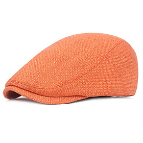 Men's Basic Polyester Beret Hat-Solid Colored Black Orange Brown