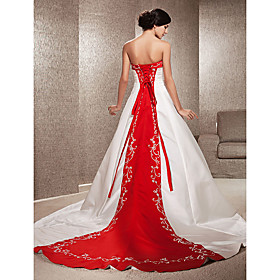Ball Gown Wedding Dresses Strapless Sweep / Brush Train Satin Strapless Glamorous Plus Size Red with Embroidery Appliques 2020
