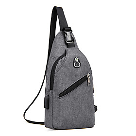 Men's Bags Polyester Sling Shoulder Bag Zipper Solid Color for Holiday / Outdoor Black / Blue / Gray / Fall  Winter