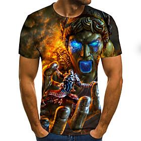 Men's 3D Graphic Slim T-shirt Basic Daily Round Neck Rainbow / Short Sleeve