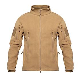 Men's Hunting Fleece Jacket Outdoor Thermal / Warm Wearproof Comfortable Spring Fall Winter Terylene Flannel Black Army Green Grey