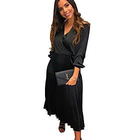 Women's A Line Dress - Solid Colored Black Wine Royal Blue S M L XL